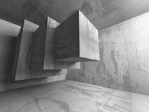 Dark empty urban concrete room urban interior. 3d render illustration Stock Photos