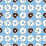 Dark en met chocolade donuts met blauwe achtergrond Royalty-vrije Stock Foto