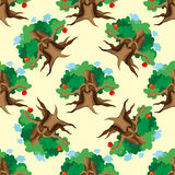 Dark Enchanted Vintage Trees seamless pattern vector. Magic forest background. Royalty Free Stock Image