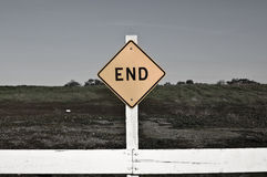 Dark End Sign Stock Photo