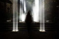 Dark Enigma Scary Mysterious Bright Light Columns Outdoors Creep Royalty Free Stock Photos