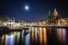 Dark evening in Amsterdam Stock Photo