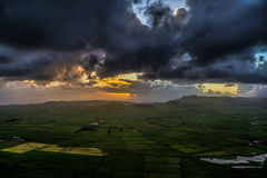 Dark Evening. Sunset at Terceira Island, Azores, with the beautifull valley, or like the locals call, the motley Stock Images