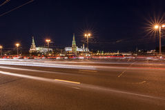 Dark evening view on the Kremlin over the Big Stone Bridge Stock Images