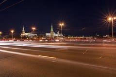 Dark evening view on the Kremlin over the Big Stone Bridge Stock Images