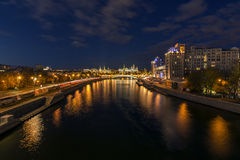 Dark evening view on the Moscow River and Kremlin Royalty Free Stock Photo