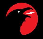 Dark Evil heraldic raven. Mascot, logotype, label Royalty Free Stock Photos