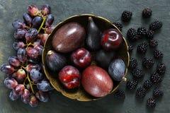 Dark Exotic Fruits on slate background Royalty Free Stock Photo