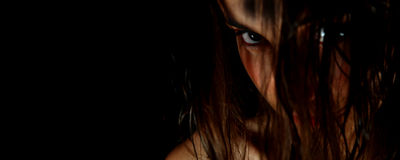 Dark face #4. Dark face of a beautiful girl Stock Photos