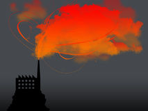 Dark factory. With red co 2 Royalty Free Stock Image