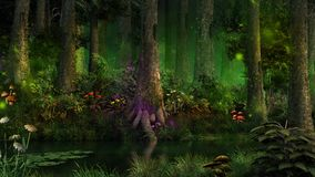 Dark fairytale forest Stock Photos
