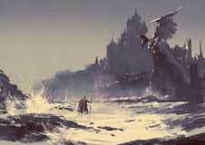 Dark fantasy castle. Illustration painting of king walking through sea beach next to fantasy castle in background Royalty Free Stock Images