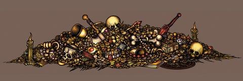 Dark fantasy cursed treasure Stock Images