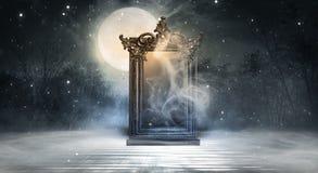 Free Dark Fantasy Landscape. Dark Forest, Magic Mirror. Stock Photo - 162184180