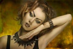 Dark fashion lady close-up Royalty Free Stock Photography