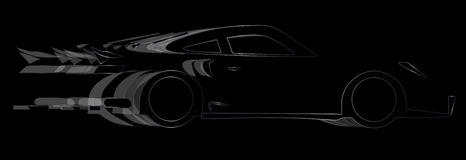 Dark Fast Car. A fast car in silhouette with speed blur over black Royalty Free Stock Images