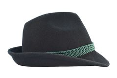 Dark fedora like hat isolated Stock Images