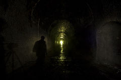 Dark figure old Railway Tunnel Royalty Free Stock Images