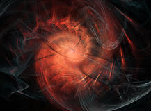 Dark Flame Spiral. Abstract fractal light shape background design, horizontal Royalty Free Stock Photos