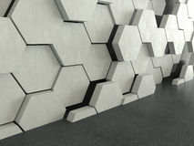 Dark floor with hexagons concrete pattern background. 3D rendering vector illustration