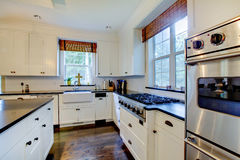 dark floors lyxig white för kök royaltyfri foto