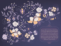 Dark floral background. Decorative dark floral background with place for text Royalty Free Stock Photos