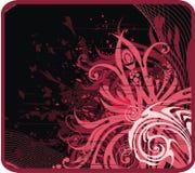 Dark floral background. Red grunge dark floral background vector illustration