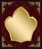 Dark floral background with gold frame - vector decorations Stock Images