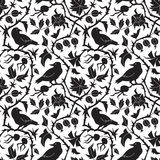 Dark Floral Pattern With Crow Royalty Free Stock Photography