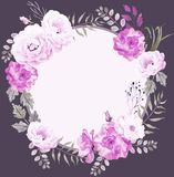 Dark floral round watercolor template with roses in violet Stock Images