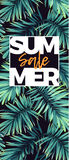 Dark floral sale design with exotic plants. Vector tropical banner with green phoenix palm leaves. Royalty Free Stock Photo
