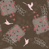 Dark floral seamless pattern. Folk motives floral seamless pattern Vector Illustration