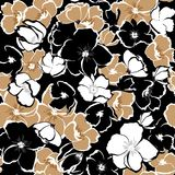 Dark Floral seamless pattern blooming hand drawning flowers Bota. Nical  Seamless vector texture.  for fashion prints. Printing with in hand drawn style on black Stock Photography