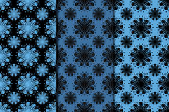 Dark flower seamless background. Blue and black ornaments Stock Photo