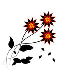 Dark flowers with falling leaves Stock Photo