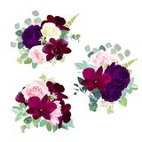 Dark flowers vector design seasonal bouquets. Purple garden rose, burgundy red orchid, pink and yellow rose, hydrangea, seeded eucalyptus, greenery, succulents stock illustration