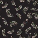 Dark fluffy feathers seamless pattern. Feathers seamless pattern. dark background Stock Photo