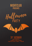 Dark flyer design for halloween party. Paper art style vector illustration. Festive card with bat. Invitation to nightclub Royalty Free Stock Photos