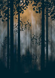 Dark Foggy Forest. Spooky foggy forest at night with trees silhouettes illustration Royalty Free Stock Images