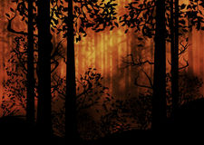Dark Foggy Forest. Spooky foggy forest at night with trees silhouettes illustration Royalty Free Stock Photos