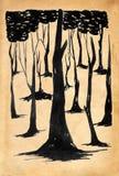 Dark forest. Black ink drawing on old paper vector illustration