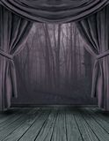 The Dark Forest Stage. A stage setting with a forest back drop and tied back curtains Stock Images