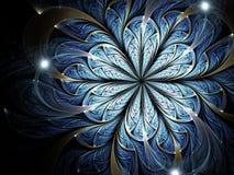 Dark fractal flower with sparkles. Digital artwork for creative graphic design stock illustration