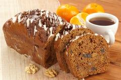 Dark fruitcake with fruits Stock Image