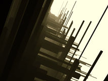 Dark futuristic constructions. In a bright afternoon Stock Photos