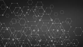 Dark Futuristic dna, abstract molecule, cell illustration Stock Photos