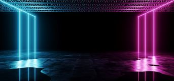 Dark Futuristic Sci-Fi Hi-Tech Modern Stage Construction With Pu. Rple And Blue Glowing Neon Lights With Concrete Floor With Water And Reflections Club Concept vector illustration