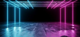 Dark Futuristic Sci-Fi Hi-Tech Modern Stage Construction With Pu. Rple And Blue Glowing Neon Lights With Concrete Floor With Water And Reflections Club Concept royalty free illustration