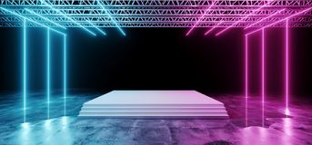 Dark Futuristic Sci-Fi Modern Stage Construction And White Floor. With Stairs With Purple And Blue Glowing Neon Lights With Concrete Floor With Water And stock illustration