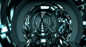 Dark futuristic spaceship corridor 3D rendering Stock Images